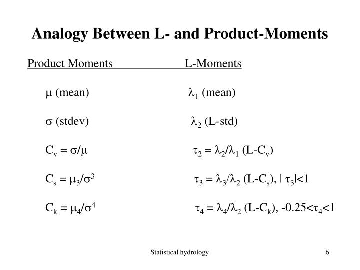 Analogy Between L- and Product-Moments