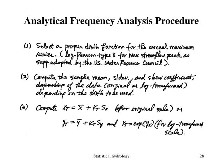 Analytical Frequency Analysis Procedure