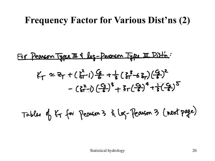 Frequency Factor for Various Dist'ns (2)