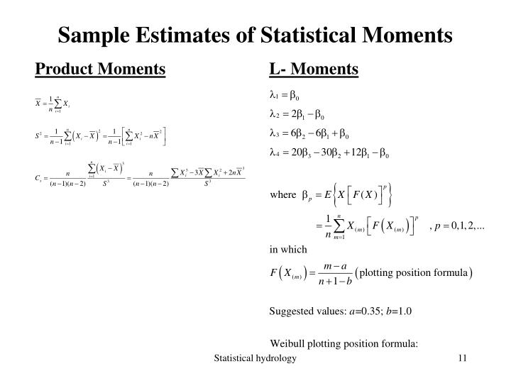 Sample Estimates of Statistical Moments