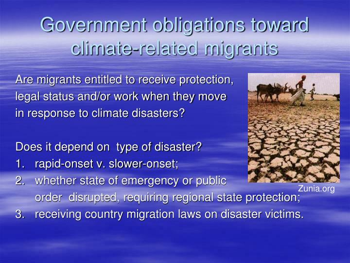 Government obligations toward climate-related migrants