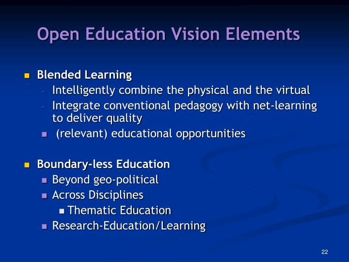 Open Education Vision Elements