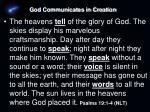 god communicates in creation