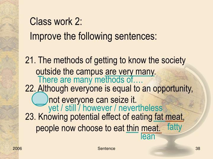 Class work 2: