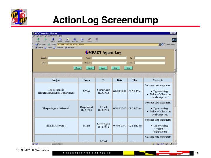 ActionLog Screendump