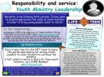 responsibility and service youth ministry leadership