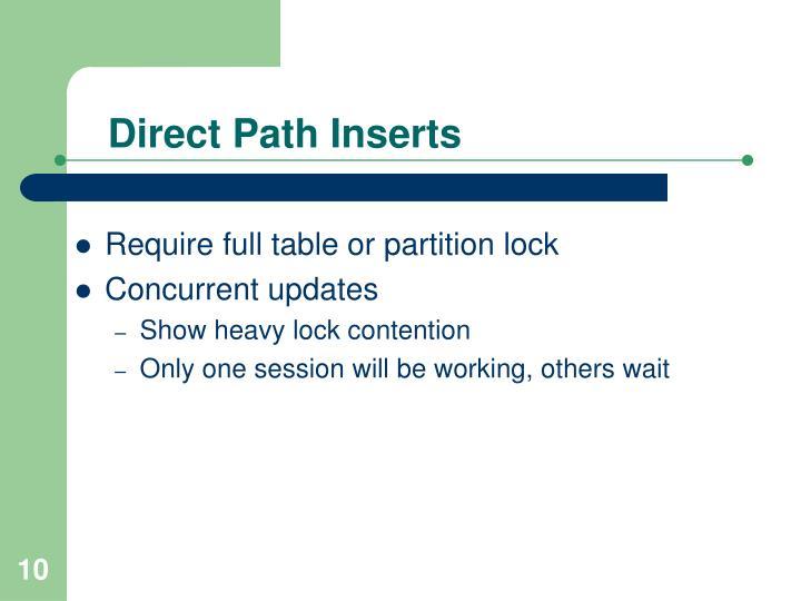 Direct Path Inserts