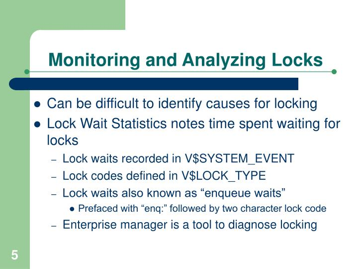 Monitoring and Analyzing Locks