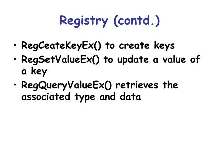 Registry contd