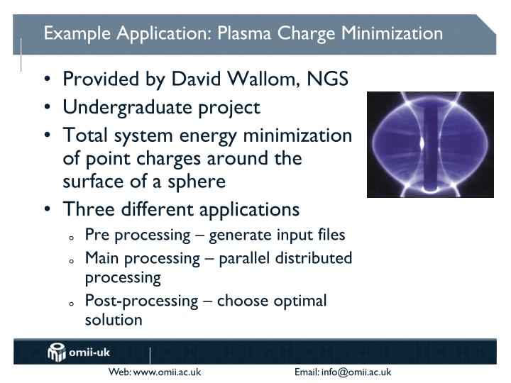 Example Application: Plasma Charge Minimization