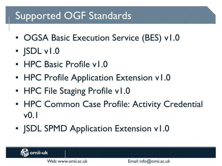 Supported OGF Standards