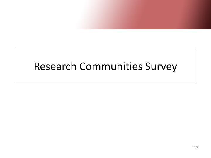 Research Communities Survey