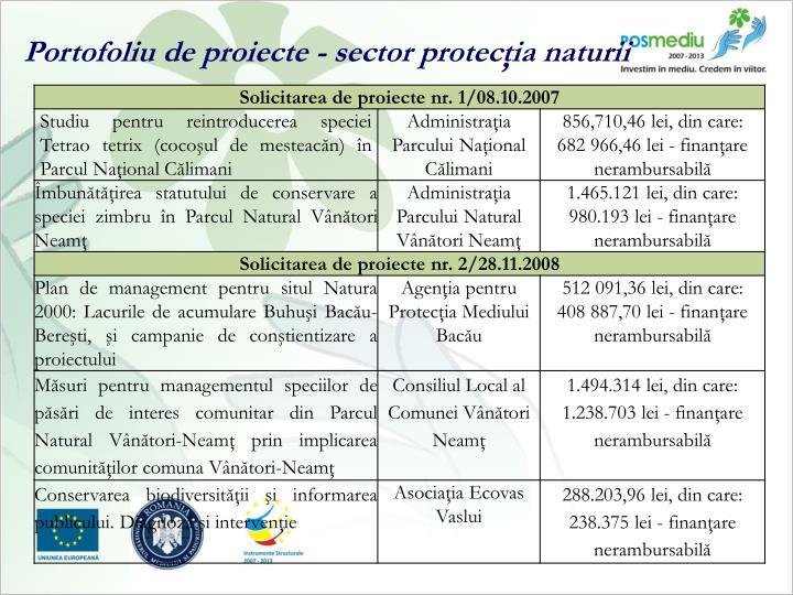 Portofoliu de proiecte - sector protecţia naturii