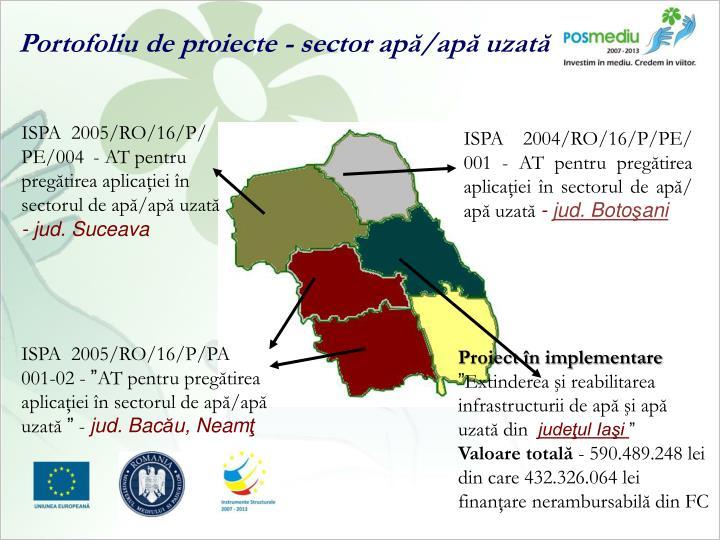Portofoliu de proiecte - sector apă