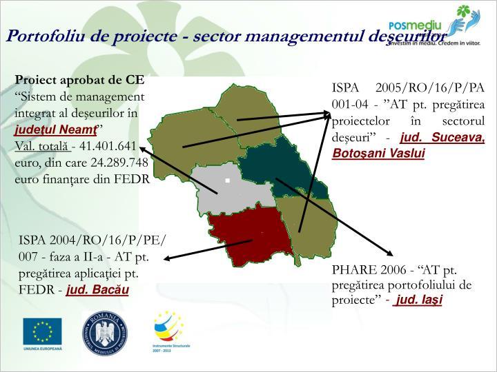 Portofoliu de proiecte - sector managementul deşeurilor