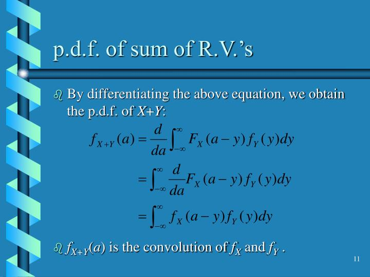 p.d.f. of sum of R.V.'s