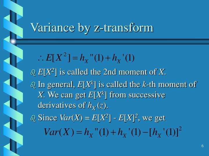 Variance by z-transform