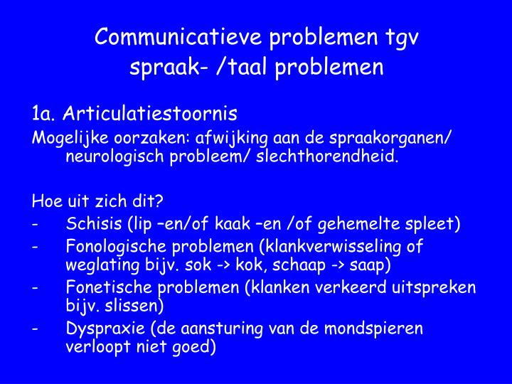 Communicatieve problemen tgv