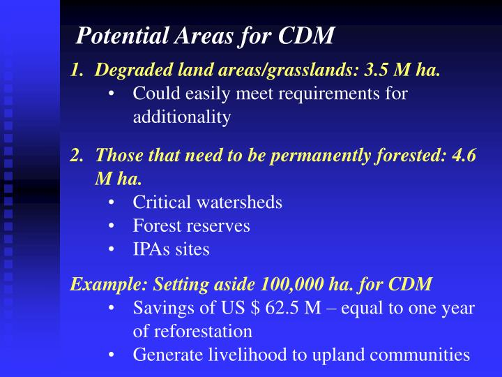 Potential Areas for CDM