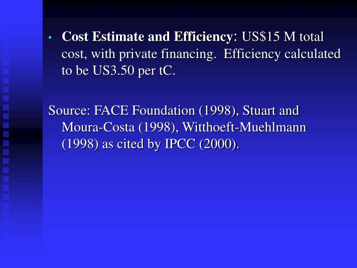 Cost Estimate and Efficiency