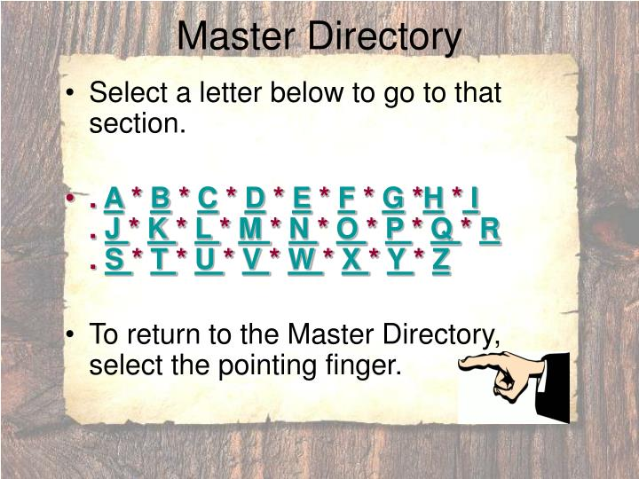 Master directory