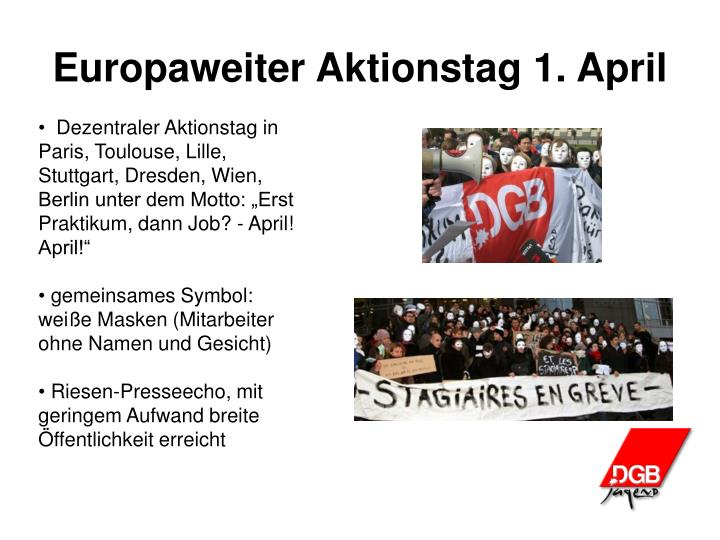 Europaweiter Aktionstag 1. April