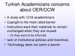 turkish academicians concerns about oer ocw