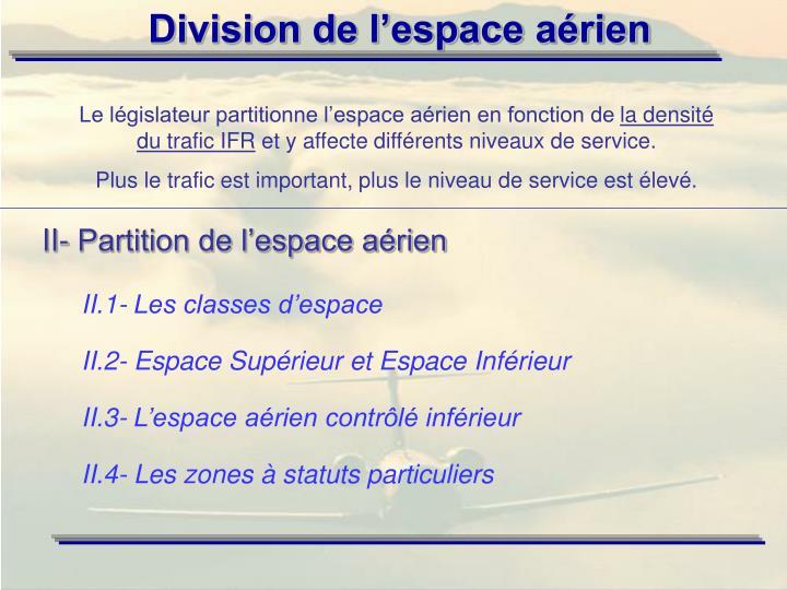 II- Partition de l'espace aérien