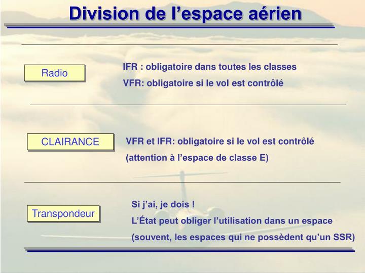 IFR : obligatoire dans toutes les classes