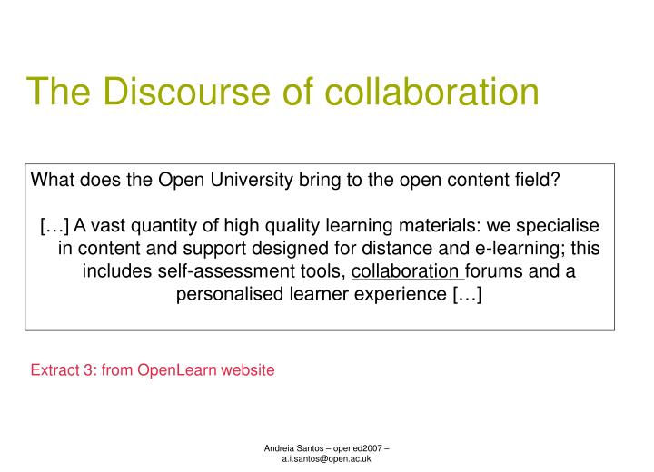The Discourse of collaboration