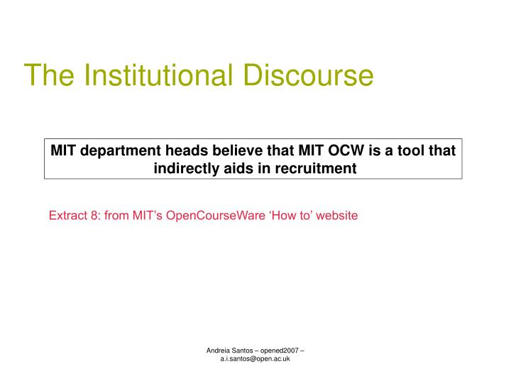The Institutional Discourse