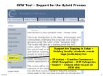 ocw tool support for the hybrid process