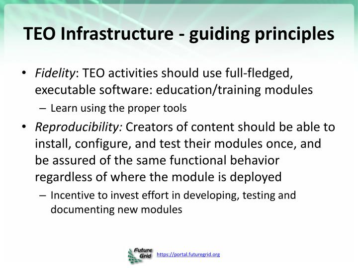 TEO Infrastructure - guiding principles