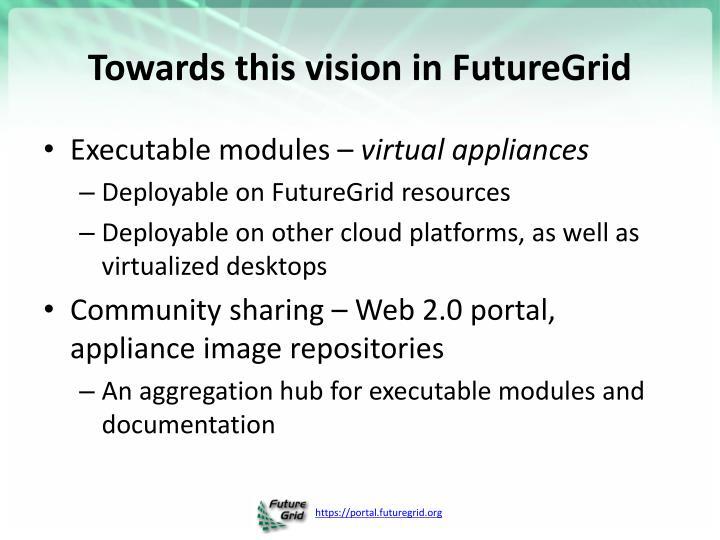 Towards this vision in FutureGrid