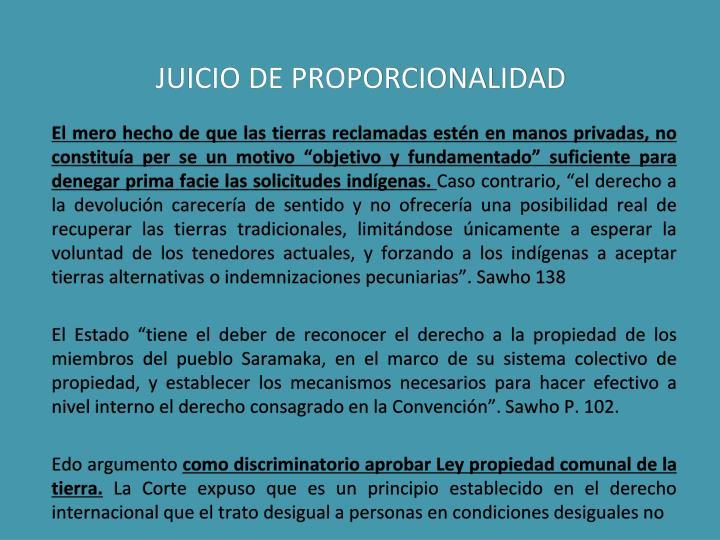 JUICIO DE PROPORCIONALIDAD