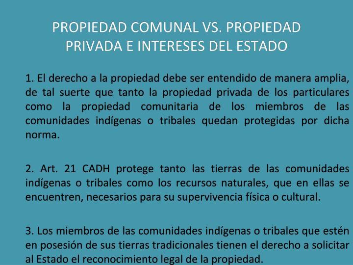 PROPIEDAD COMUNAL VS. PROPIEDAD PRIVADA E INTERESES DEL ESTADO