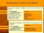 disciplines that contribute to the ob field1