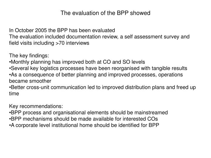 The evaluation of the BPP showed