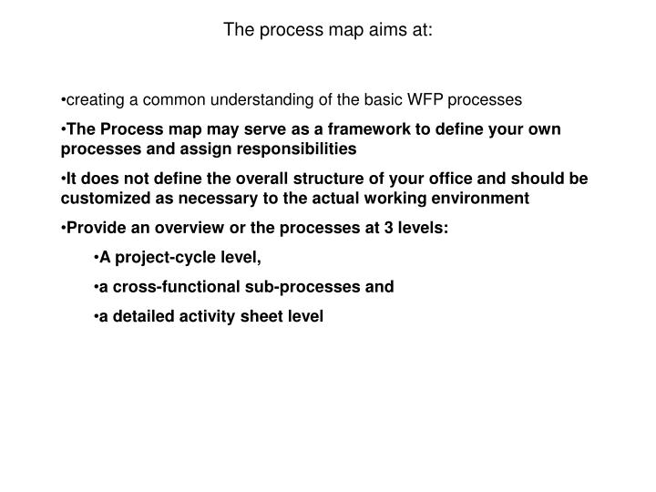 The process map aims at: