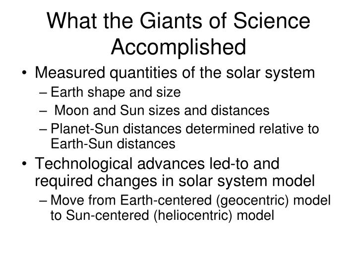 What the giants of science accomplished