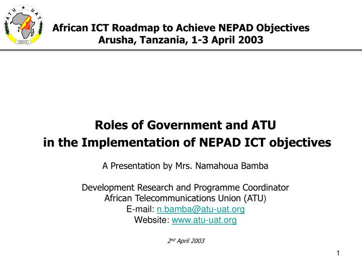 african ict roadmap to achieve nepad objectives arusha tanzania 1 3 april 2003