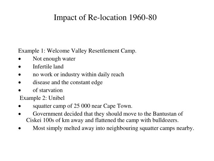 Impact of Re-location 1960-80