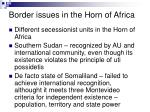 border issues in the horn of africa