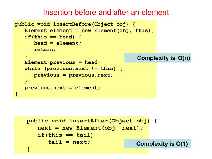 Insertion before and after an element
