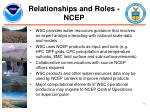relationships and roles ncep