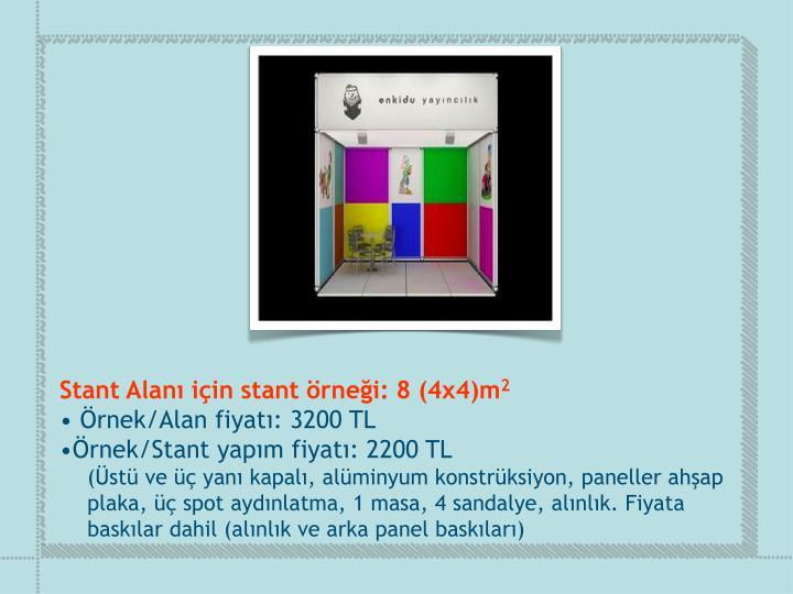 Stant Alanı için stant örneği: 8 (4x4)m