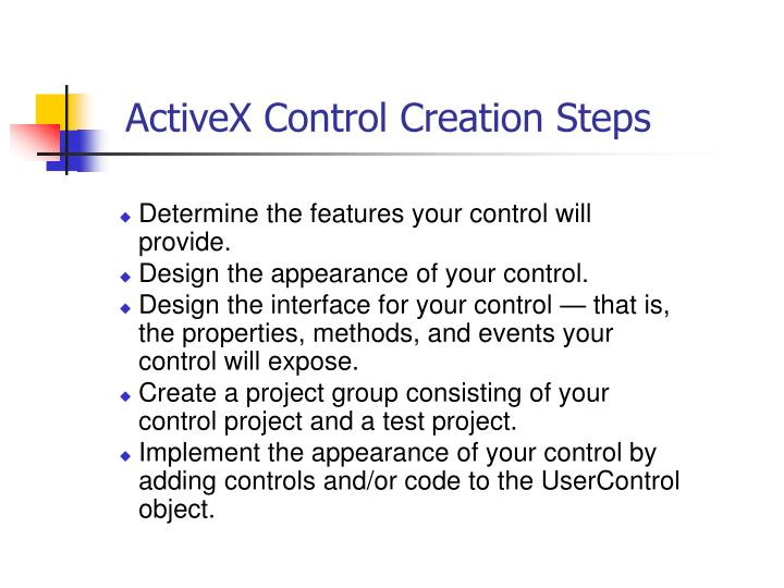 ActiveX Control Creation Steps