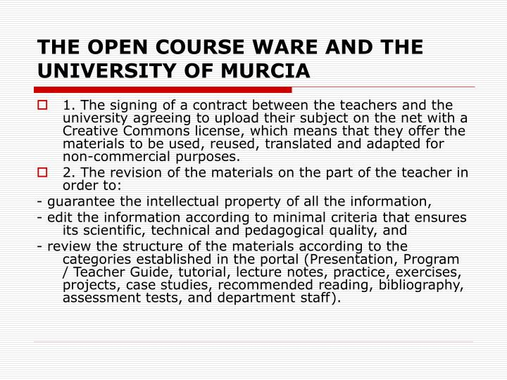 THE OPEN COURSE WARE AND THE UNIVERSITY OF MURCIA