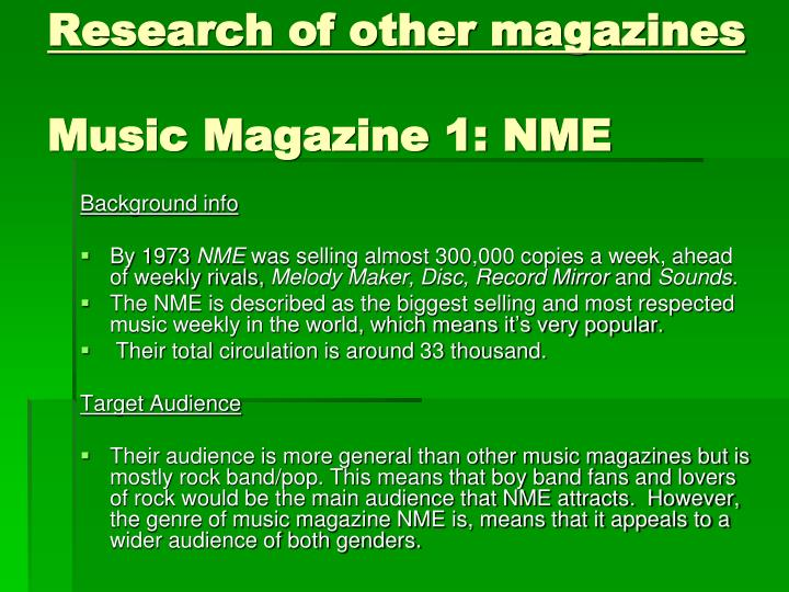 Research of other magazines music magazine 1 nme