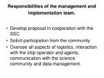 responsibilities of the management and implementation team